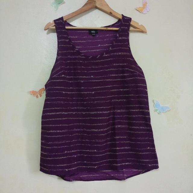 Purple Printed Sleeveless Blouse