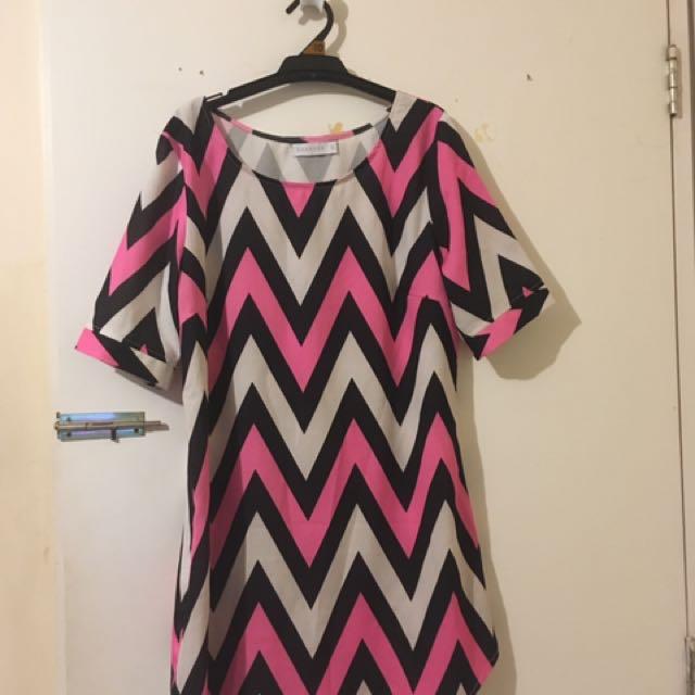 Shareen pink, white, black dress