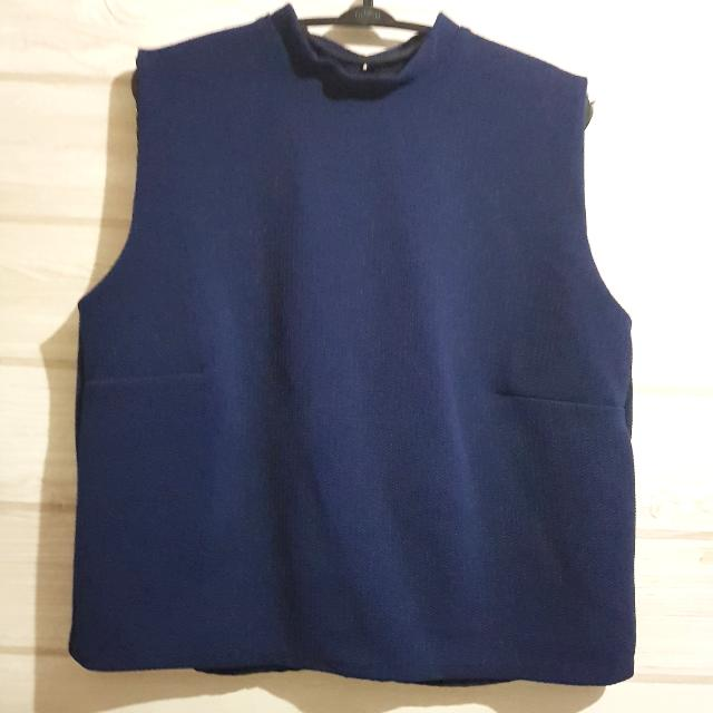 Shopatvelvet Cropped Top Navy Blue