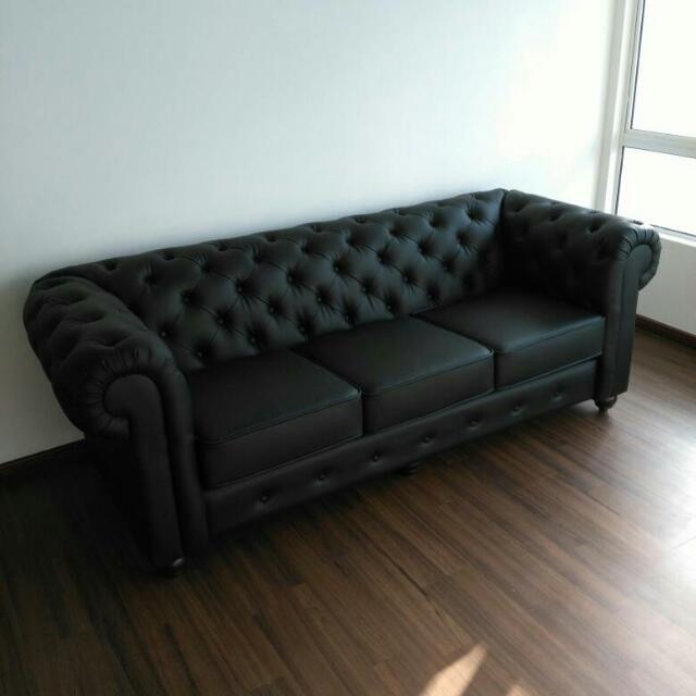 Sofa Chesterfield 3 Seater With Casa Leather Fabric