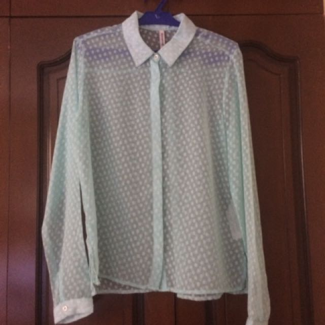 Stradivarius sheer mint green long sleeved blouse