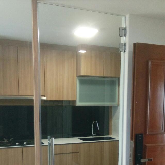 Tempered Glass Kitchen Entrance Swing Door Home Services