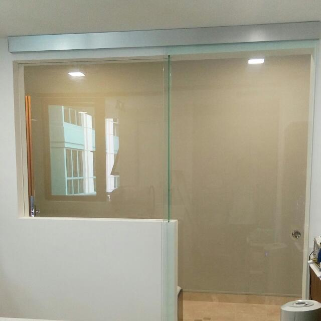 Tempered Glass Sliding Door And L Shape Panel Home Services