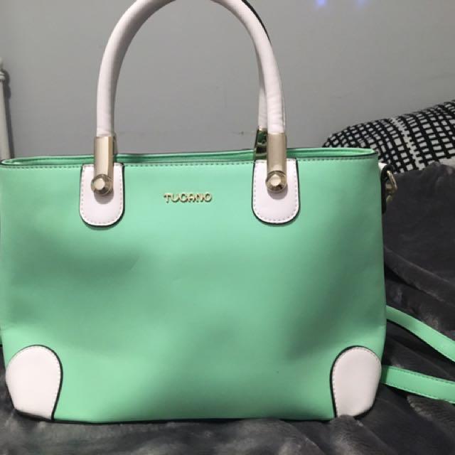 Turquoise And White Cross body Handbag