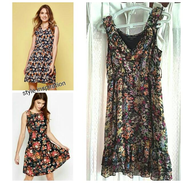 Twentyone Black Floral Dress Size Small