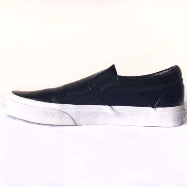 Vans Black Patent Leather Slip-On Shoes