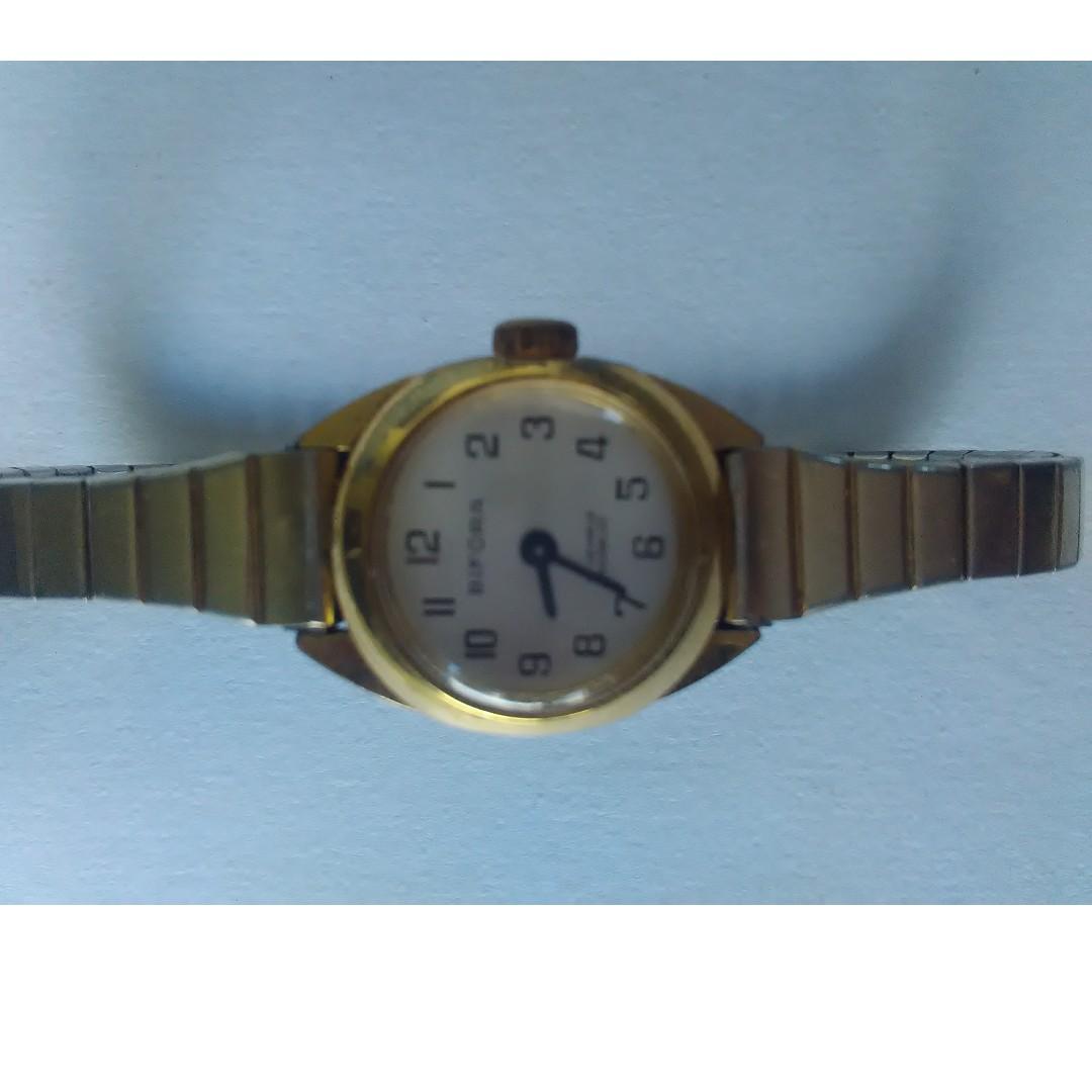 vintage gold womens Bifora 17 jewel watch