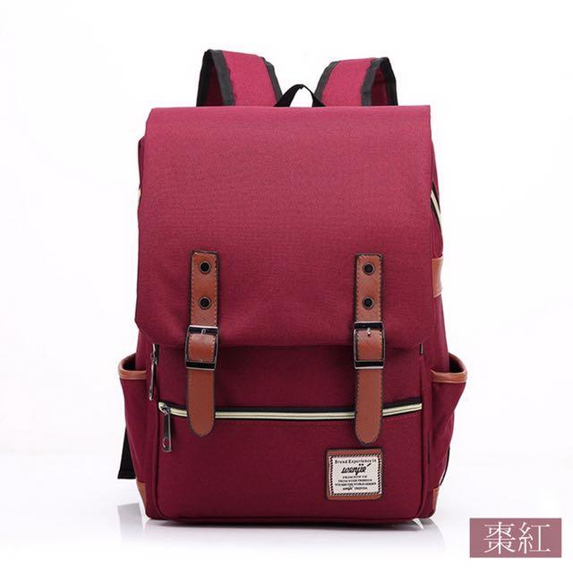 Wenjie 英倫學院風雙肩後背包(棗紅色)