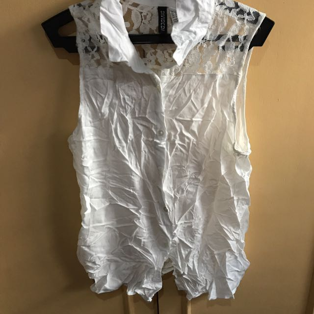 White laced sleeveless top H&M (36)