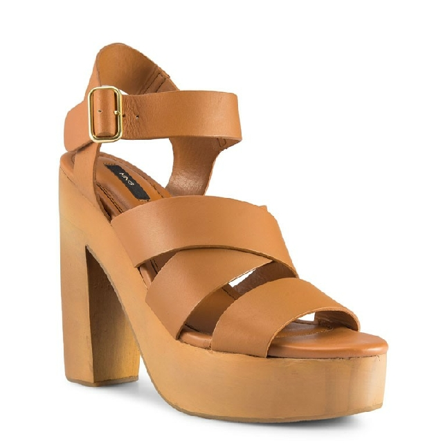 7e59856f17f Mango Wooden Leather Heel Sandals Platform - Brown   Tan (Size 36 ...