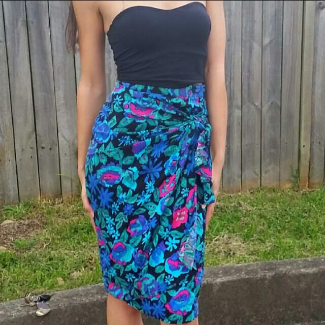 Wrap Tie Midi Skirt Vintage