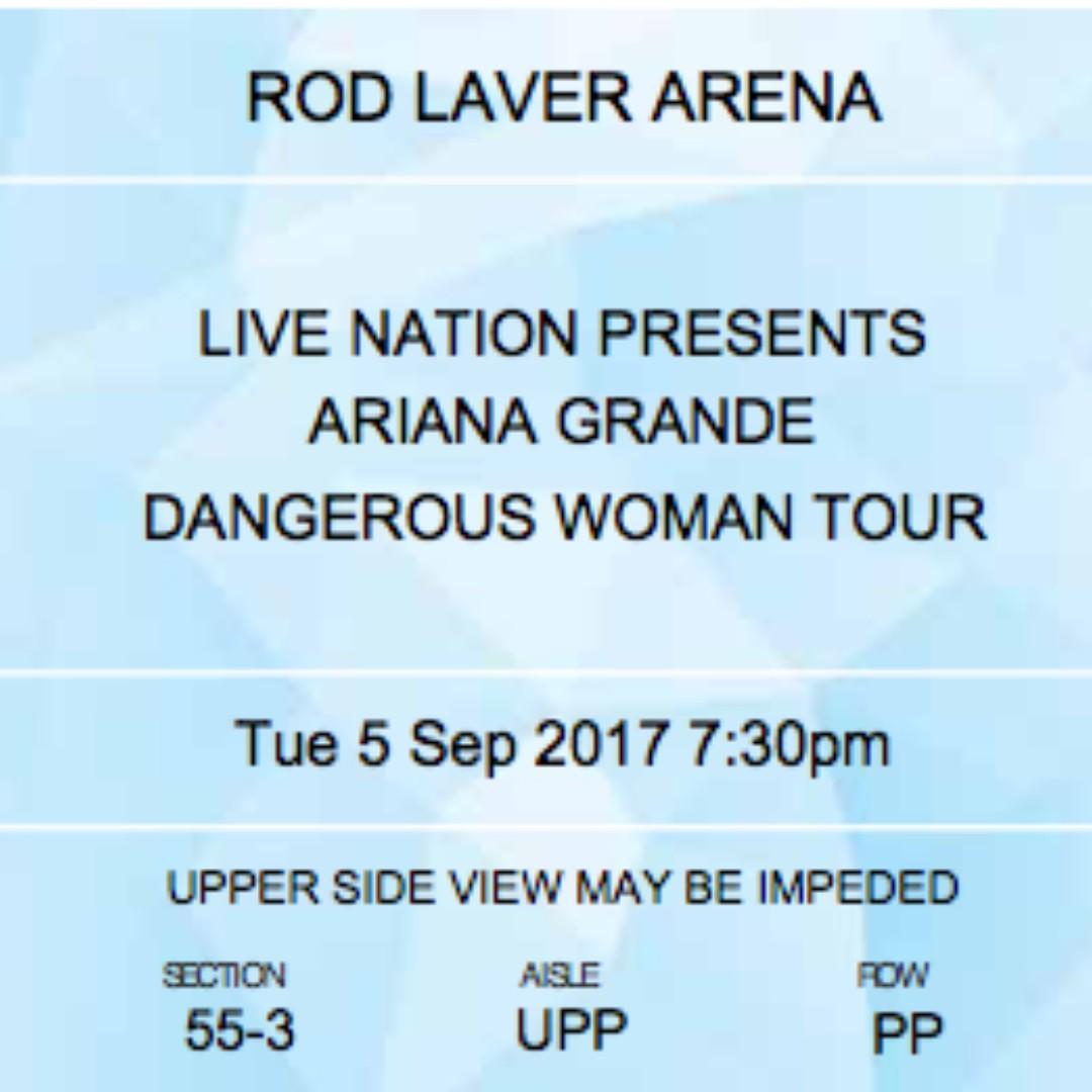 X2 Tickets Ariana Grande Dangerous Woman Tour MELBOURNE 5th September