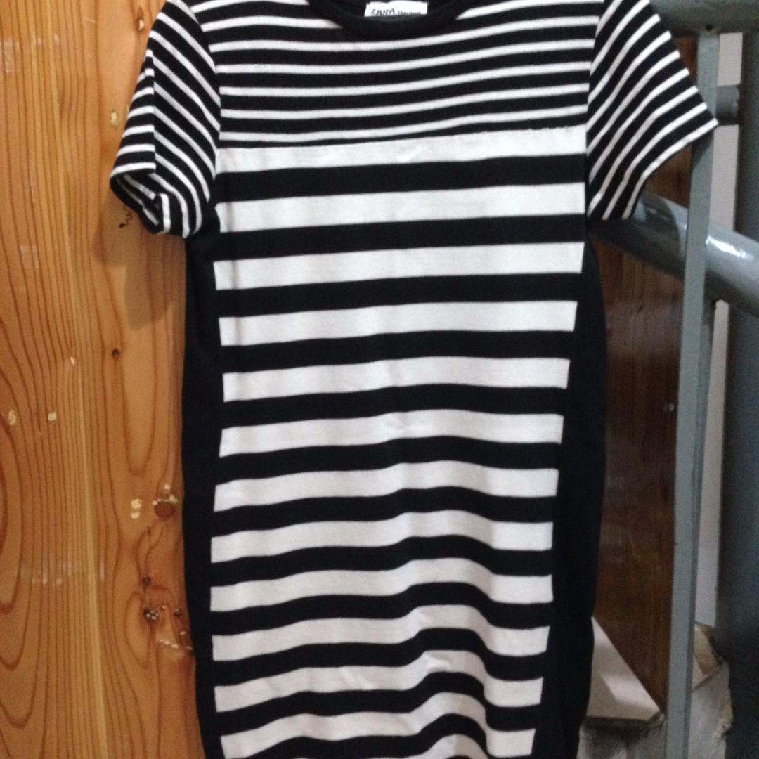 Zara Bodycon Stripe Black and White Dress