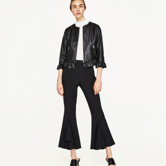 Zara Frill Leather Effect Jacket
