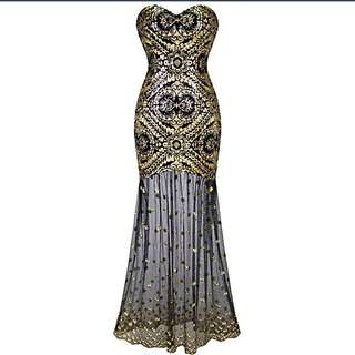 Woman's Sleeveless V-neck Sequins Lace Up Dress