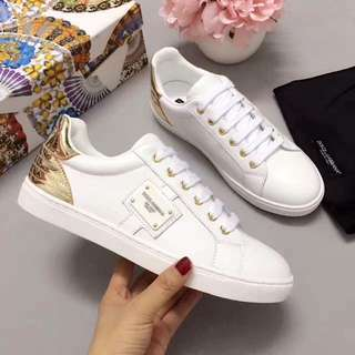 DOLCE & GABBANA LEATHER SNEAKERS WITH APPLIQUÉ White/Gold