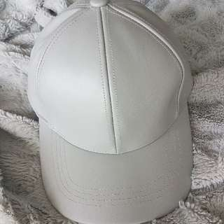 Gray Leather Baseball Cap
