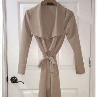 BOOHOO Nude Waterfall Duster Coat