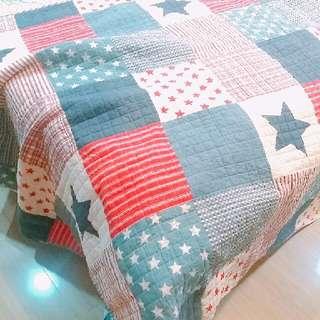 美國星星條紋拼布被 小單人 幼稚園午睡被 野餐墊 純棉 #雙十一大出清