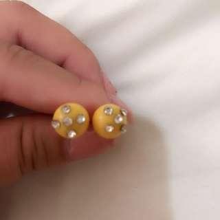 全新 黃色圓型耳環