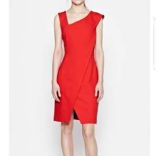 French connection bright orange asymmetric dress