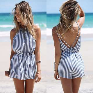 Blue Striped Romper <3