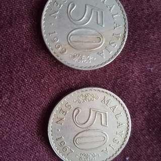 syiling 50sen thn 1967 & 1969