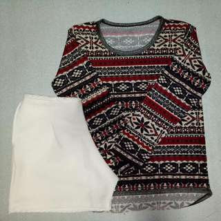 Aztec Long sleeves & White Short