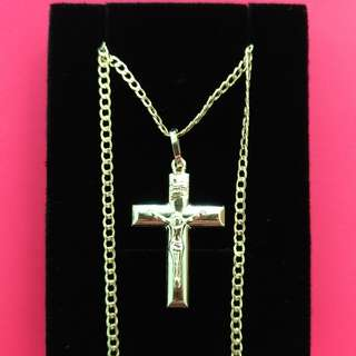 (Saudi Gold 18k) Cross Pendant And Chain
