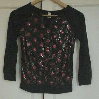 Black Sequined Pullover (Medium)