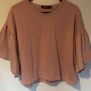 Peach Flare Sleeve Shirt