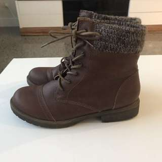 Brown lace up material boots