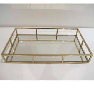 Gold/ Rose Gold Rectangle Mirrored Tray