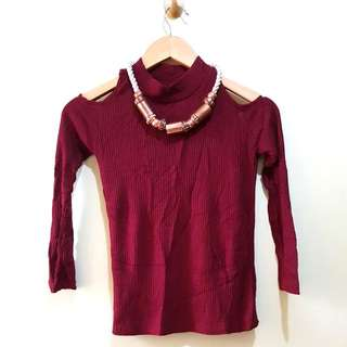 Zara Inspired Cold Shoulder Maroon Ribbed Top