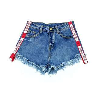Red Alphabet Stripe Denim Shorts