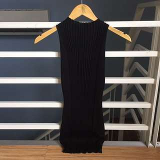 Shopcopper Ribbed Black Fitted Dress