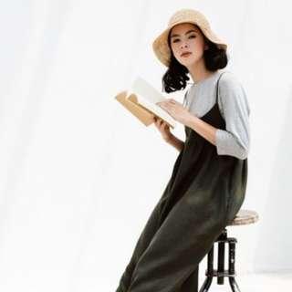 九成新::泰國設計師品牌Makersgonnamake亞麻細吊帶背心裙 橄欖綠