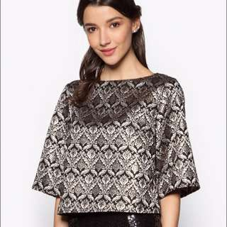 Zalia Rose Gold Jacquard Top with wide sleeves (BNWT)