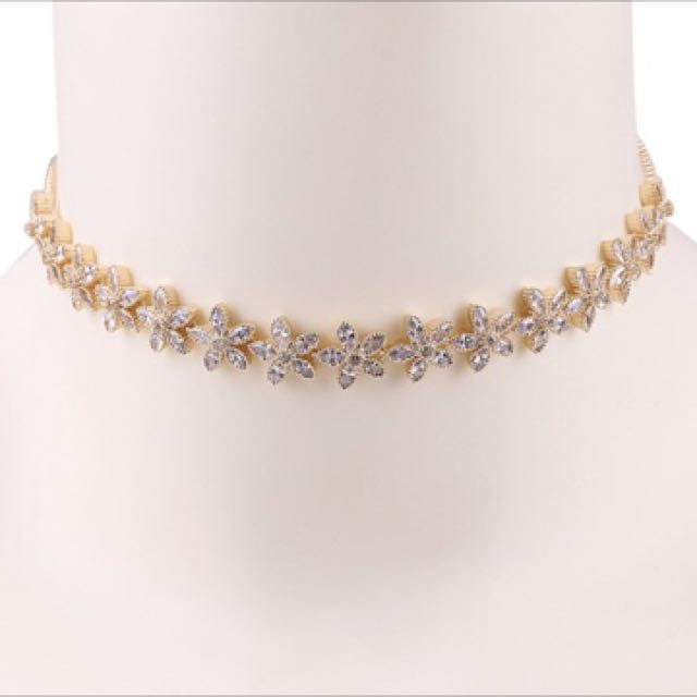 18k Gold Plated Zirconium Chokers New In Packing
