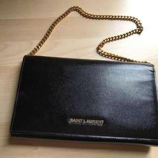 Authentic Saint Laurent Classic Letters Chain Wallet (Black)
