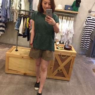 🚚 Han實穿:)轉賣guapa打摺棉麻上衣 綠