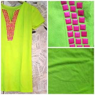 Vibrant Yellow Green Dress