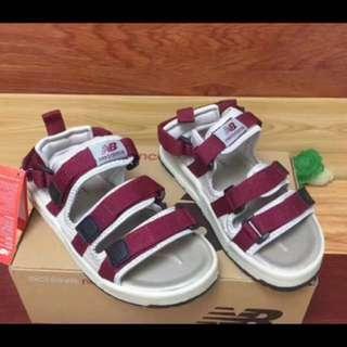 New Balance 魔鬼氈 暗紅色 涼鞋