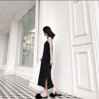 [PO] Long Line Spag Dress in Black