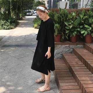 [PO] Long Tshirt Dress in Black