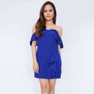 Cold Shoulder Tube Dress - Cobalt
