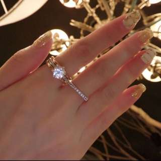 韓國 正韓 銀色 鑲鑽 細版 氣質 戒指 尾戒 出清 1.6