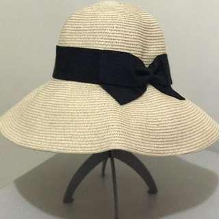 CA4LA 類似款 黑色蝴蝶結草帽