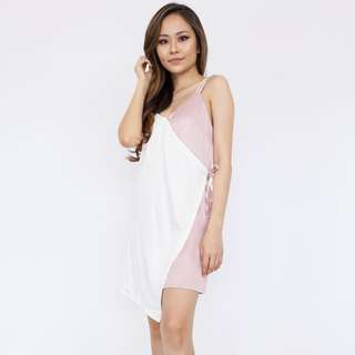 Contrast Panel Draped Dress - Pink