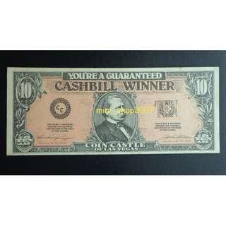 Coin Castle of Las Vegas US$10 Cashbill Certificate